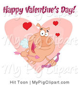 Vector Swine Clipart of a Happy Valentine's Day Text over a Cupid Pig with Hearts over a Pink Heart by Hit Toon
