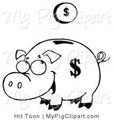 Vector Swine Clipart of a Outlined Coin Falling into a Piggy Bank by Hit Toon