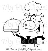 Vector Swine Clipart of a Outlined Waiter Pig with Food on a Tray by Hit Toon
