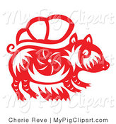 Vector Swine Clipart of a Papercut Pig by Cherie Reve