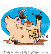 Vector Swine Clipart of a Pig Eating Ribs in a Mud Puddle by Andy Nortnik