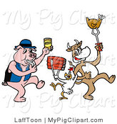 Vector Swine Clipart of a Pig with Beer Blowing a Whistle Cow and Chicken Holding up Beef and Poultry by LaffToon