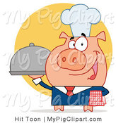 Vector Swine Clipart of a Server Pig with a Food Platter by Hit Toon