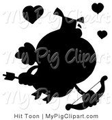 Vector Swine Clipart of a Solid Black Silhouette of a Pig Cupid with a Bow and Arrow by Hit Toon