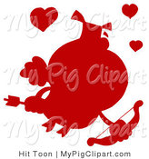 Vector Swine Clipart of a Solid Red Silhouette of a Pig Cupid with Hearts by Hit Toon