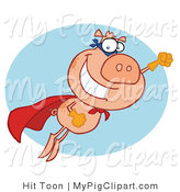Vector Swine Clipart of a Super Pig Hero Pig in Flight by Hit Toon