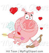 Vector Swine Clipart of a Valentine Cupid Pig by Hit Toon