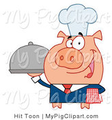 Vector Swine Clipart of a Waiter Pig Serving a Platter by Hit Toon