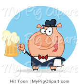 Vector Swine Clipart of a Waiter Pig Serving Beer by Hit Toon