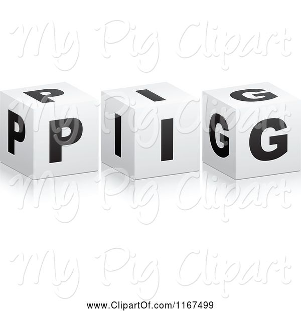 Swine Clipart of 3d Black and White PIG Cubes