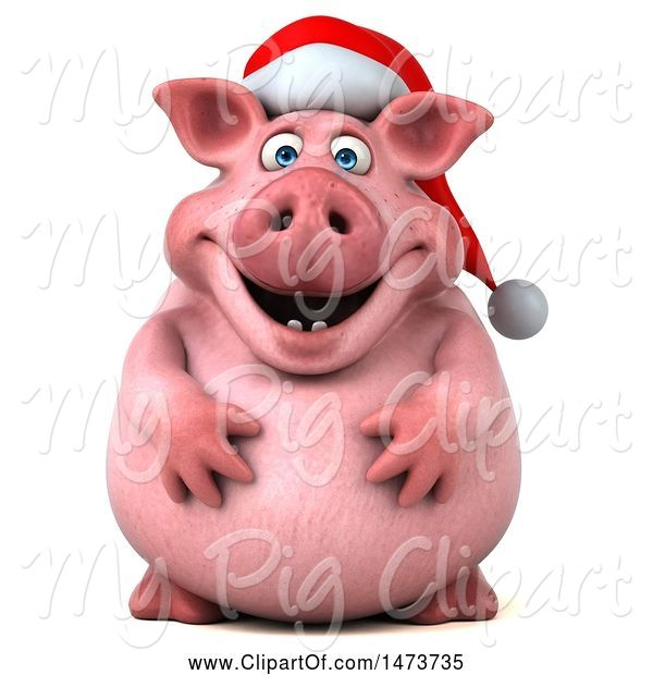 Swine Clipart of 3d Christmas Chubby Pig, on a White Background