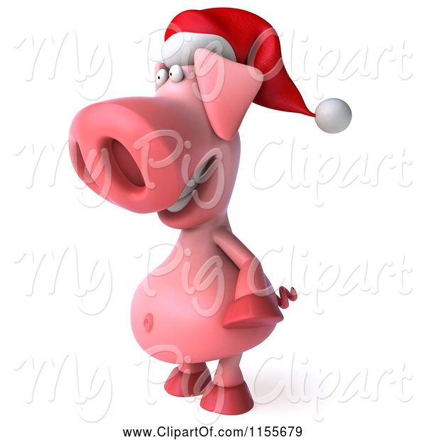Swine Clipart of 3d Christmas Pig Facing Left 2