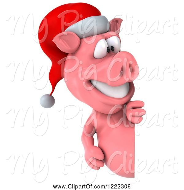 Swine Clipart of 3d Christmas Pig Looking Around a Sign