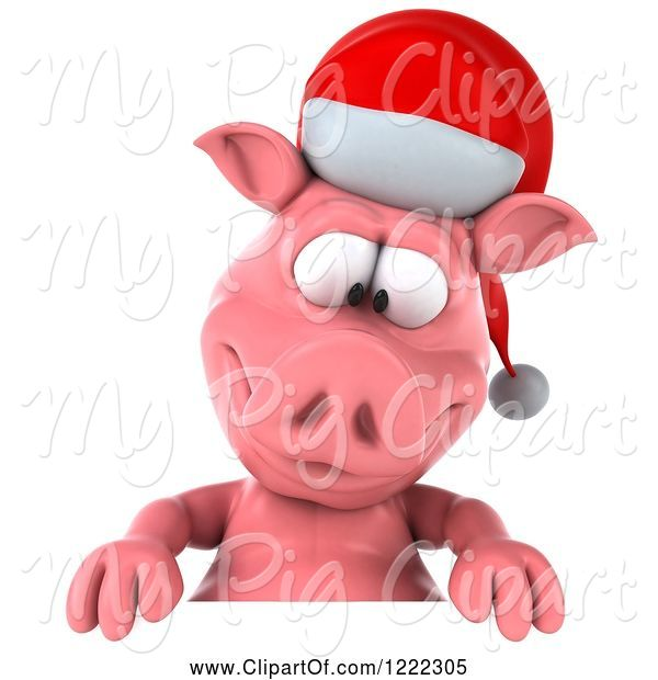 Swine Clipart of 3d Christmas Pig Looking down at a Sign