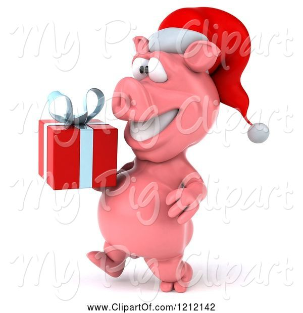 Swine Clipart of 3d Christmas Pig Mascot Wearing a Santa Hat and Carrying a Present 2