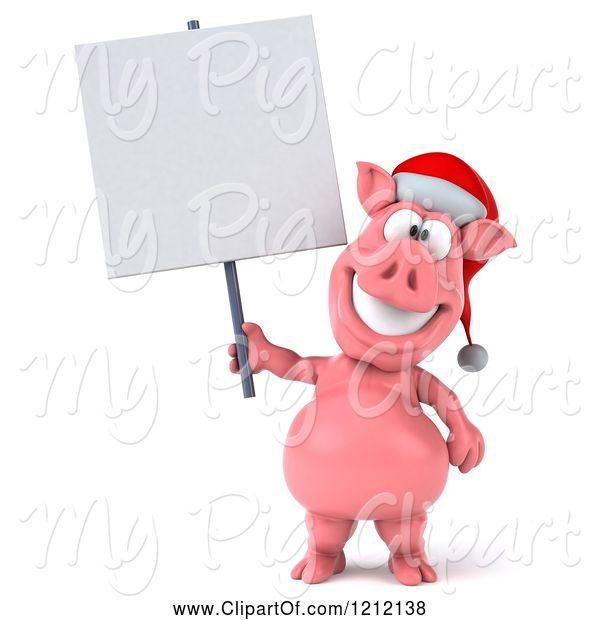 Swine Clipart of 3d Christmas Pig Mascot Wearing a Santa Hat and Holding a Sign