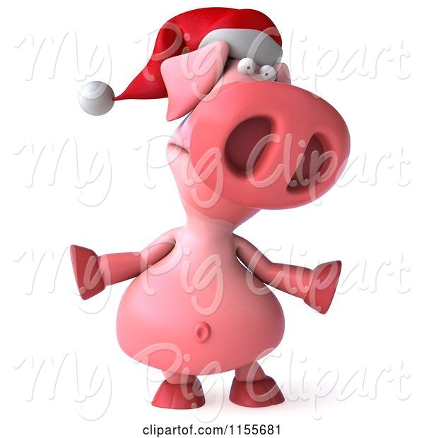 Swine Clipart of 3d Christmas Pig Shrugging