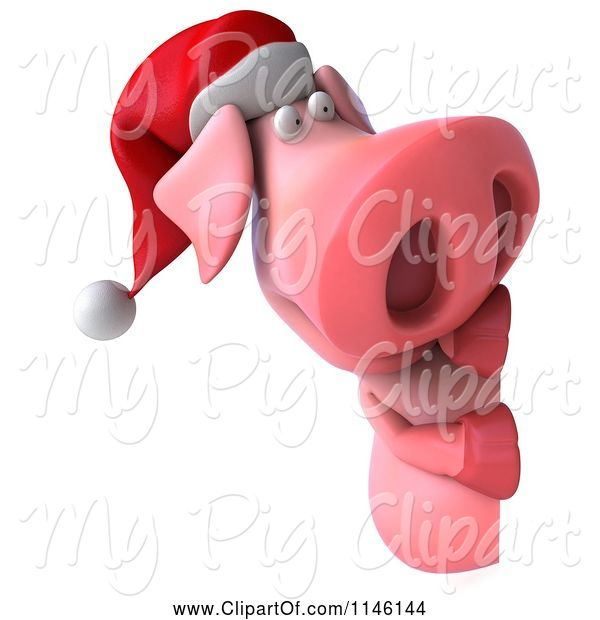 Swine Clipart of 3d Christmas Pig with a Sign 1