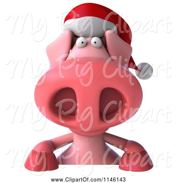 Swine Clipart of 3d Christmas Pig with a Sign 2