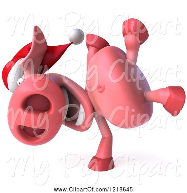 Swine Clipart of 3d Christmas Pookie Pig Doing a Hand Stand