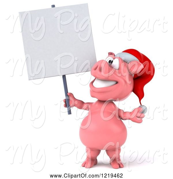 Swine Clipart of 3d Christmas Pookie Pig Holding a Sign