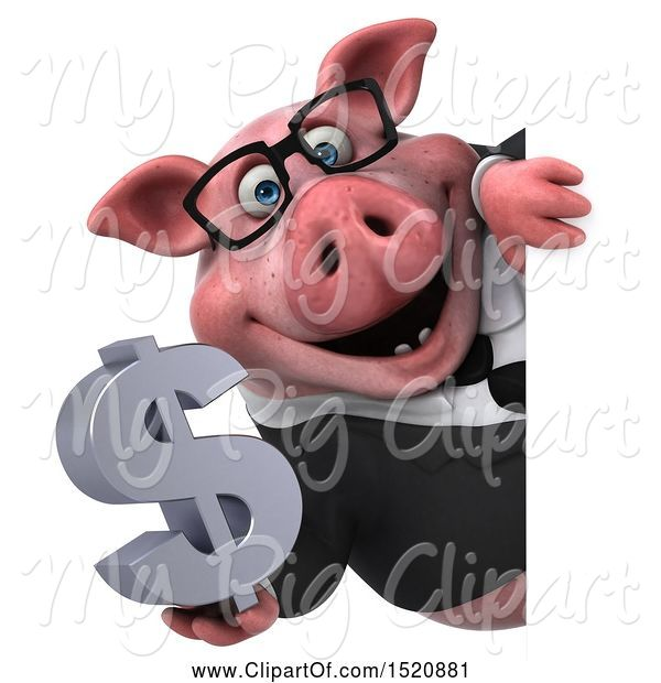 Swine Clipart of 3d Chubby Business Pig Holding a Dollar Sign, on a White Background