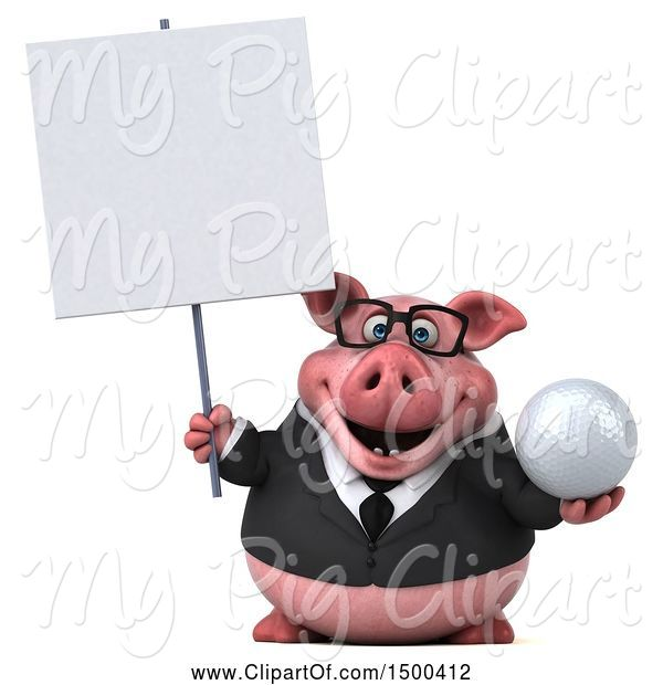 Swine Clipart of 3d Chubby Business Pig Holding a Golf Ball, on a White Background