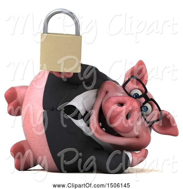 Swine Clipart of 3d Chubby Business Pig Holding a Padlock, on a White Background
