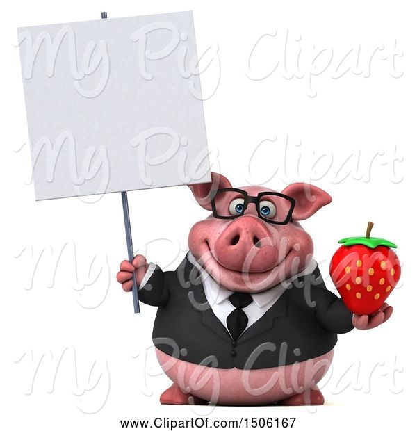 Swine Clipart of 3d Chubby Business Pig Holding a Strawberry, on a White Background