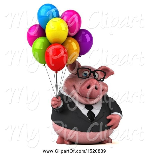 Swine Clipart of 3d Chubby Business Pig Holding Balloons, on a White Background