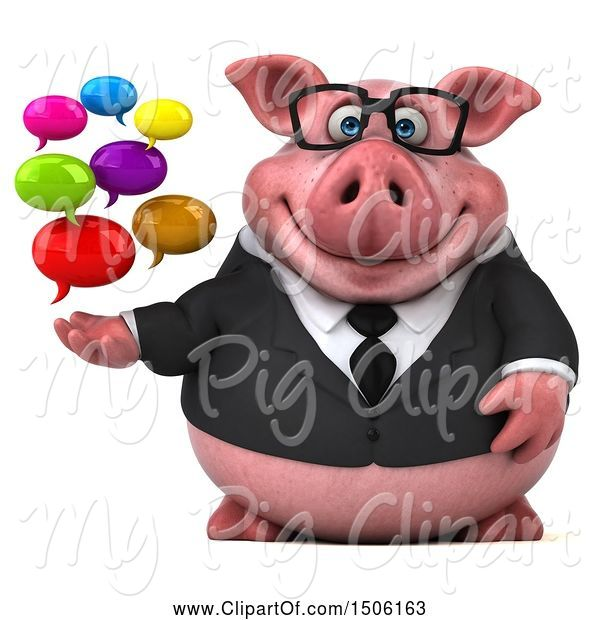 Swine Clipart of 3d Chubby Business Pig Holding Messages, on a White Background