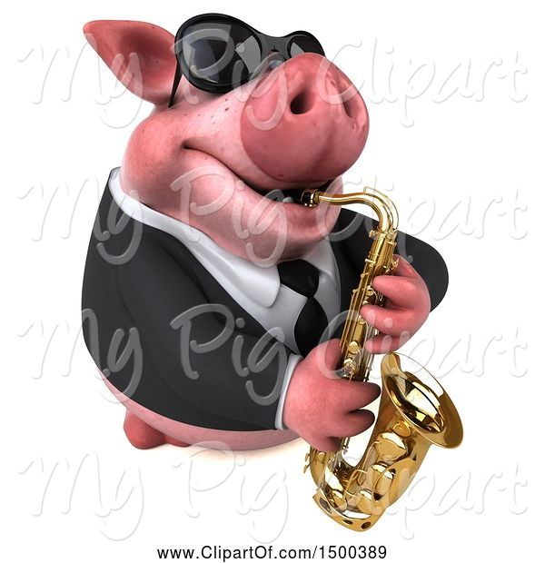 Swine Clipart of 3d Chubby Business Pig Playing a Saxophone, on a White Background