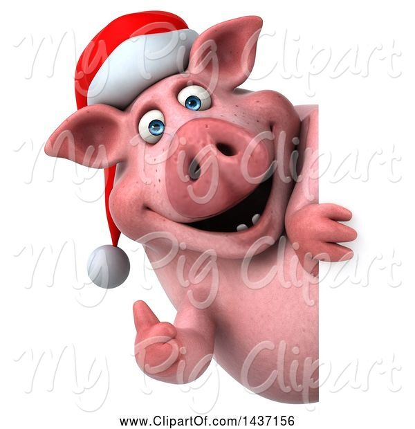 Swine Clipart of 3d Chubby Christmas Pig, on a White Background