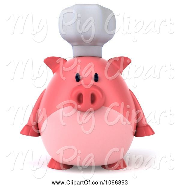 Swine Clipart of 3d Chubby Pig Chef Facing Front