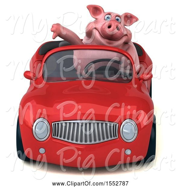 Swine Clipart of 3d Chubby Pig Driving a Convertible, on a White Background