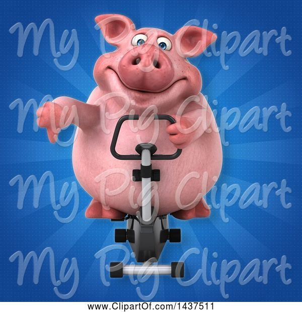 Swine Clipart of 3d Chubby Pig Exercising on a Spin Bike