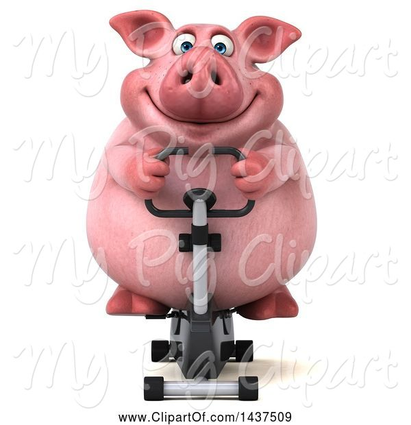 Swine Clipart of 3d Chubby Pig Exercising on a Spin Bike, on a White Background