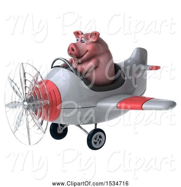 Swine Clipart of 3d Chubby Pig Flying a Plane, on a White Background