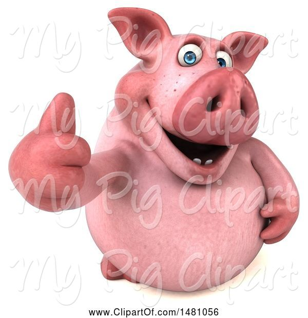 Swine Clipart of 3d Chubby Pig Giving a Thumb Up, on a White Background