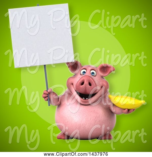 Swine Clipart of 3d Chubby Pig Holding a Banana