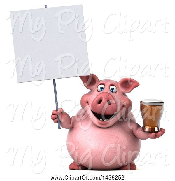 Swine Clipart of 3d Chubby Pig Holding a Beer, on a White Background