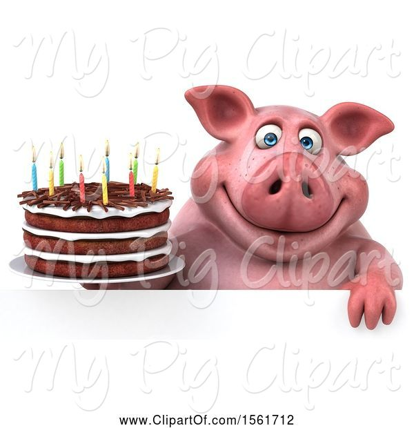 Swine Clipart of 3d Chubby Pig Holding a Birthday Cake, on a White Background
