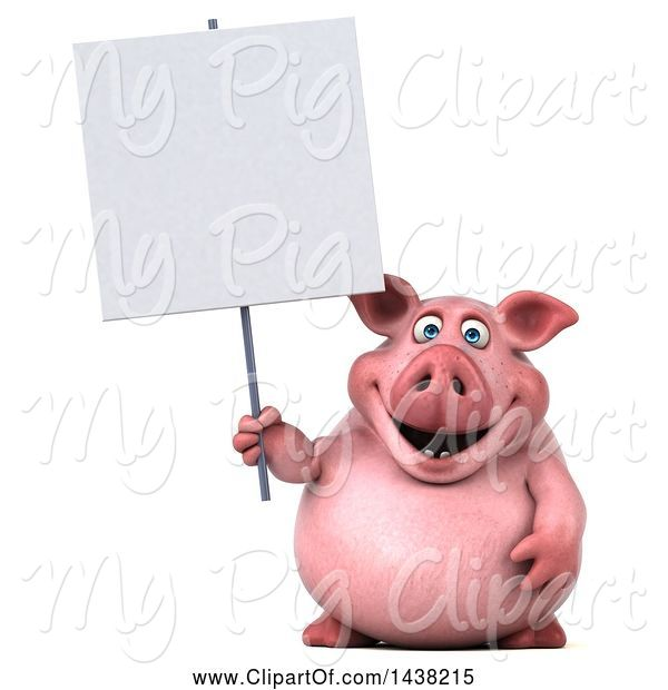 Swine Clipart of 3d Chubby Pig Holding a Blank Sign, on a White Background