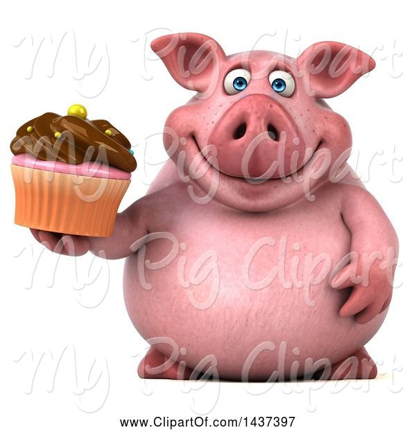 Swine Clipart of 3d Chubby Pig Holding a Cupcake, on a White Background