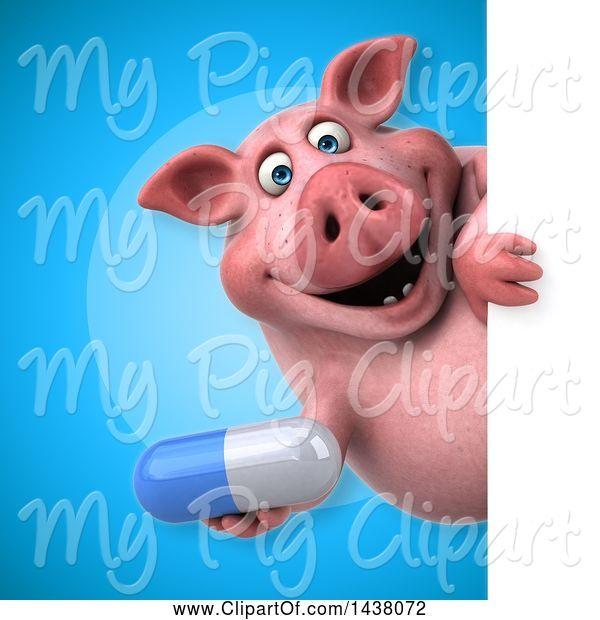 Swine Clipart of 3d Chubby Pig Holding a Pill