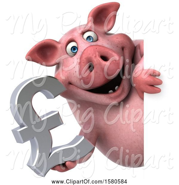 Swine Clipart of 3d Chubby Pig Holding a Pound Currency Symbol, on a White Background