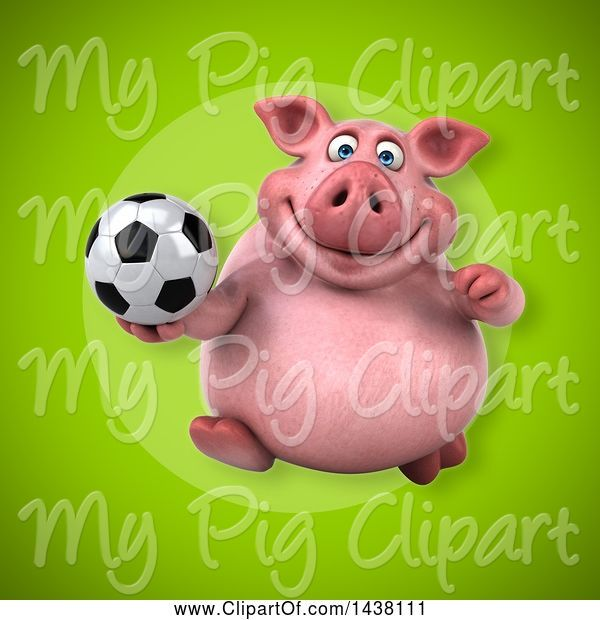 Swine Clipart of 3d Chubby Pig Holding a Soccer Ball