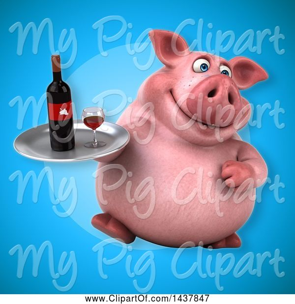 Swine Clipart of 3d Chubby Pig Holding a Wine Tray