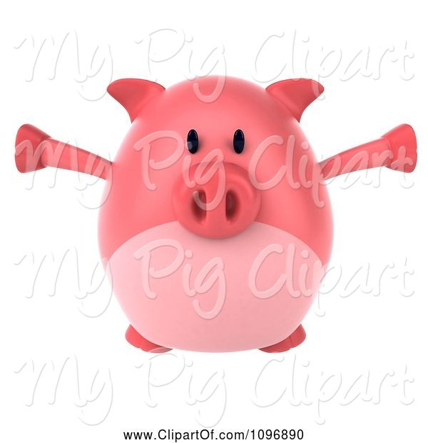 Swine Clipart of 3d Chubby Pig Jumping 1