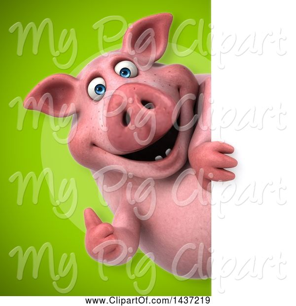 Swine Clipart of 3d Chubby Pig Looking Around a Sign